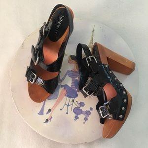 Nine West platform chunky wooden heel sz 8